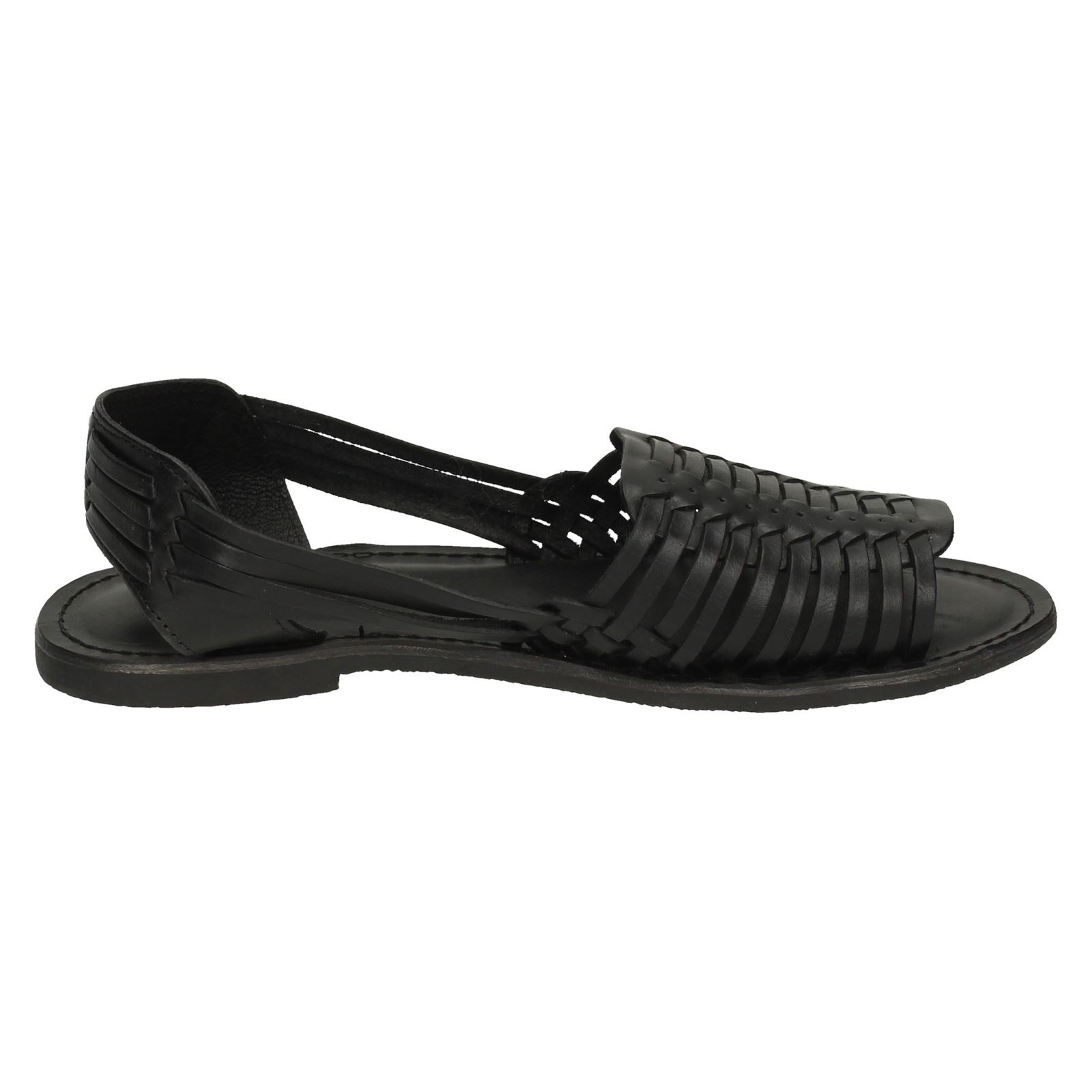 Details about  /Ladies Leather Collection Leather Weaved Slingback Sandal