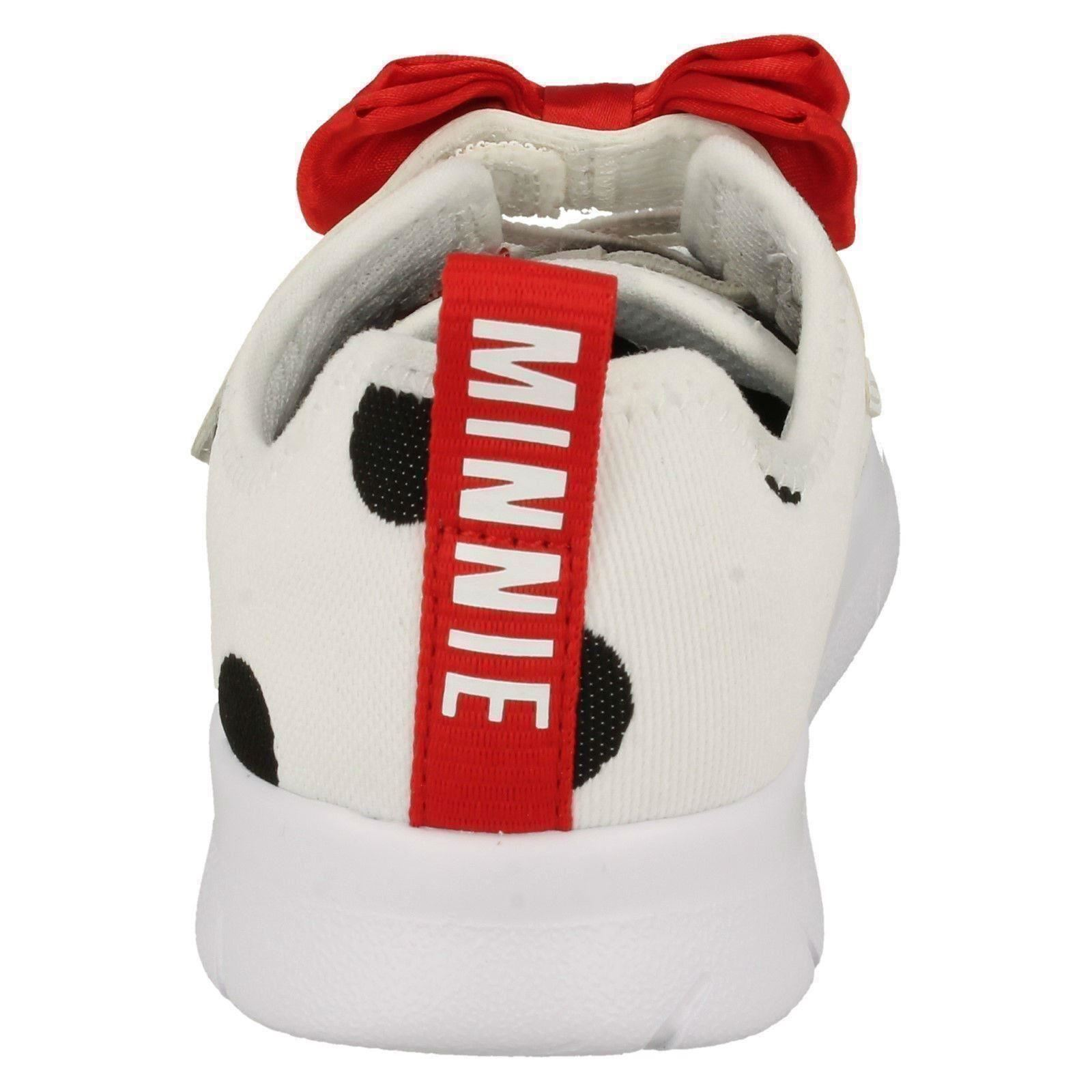 Ragazze Clarks Disney Minnie Mouse Fiocco Dettagliato Scarpe Sportive Ath