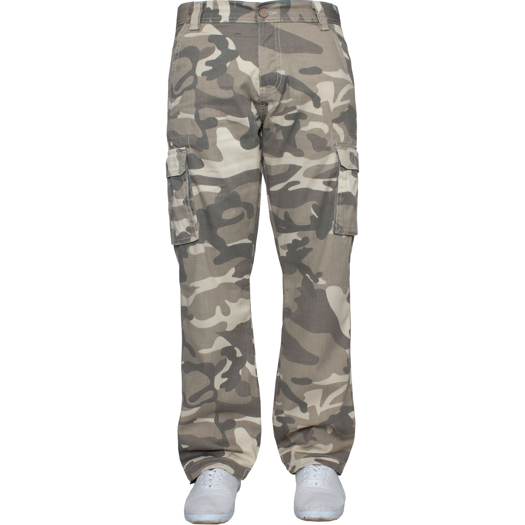 Mens Kruze Combat Cargo Trousers Khaki Camouflage Camo Summer Pants All Waist