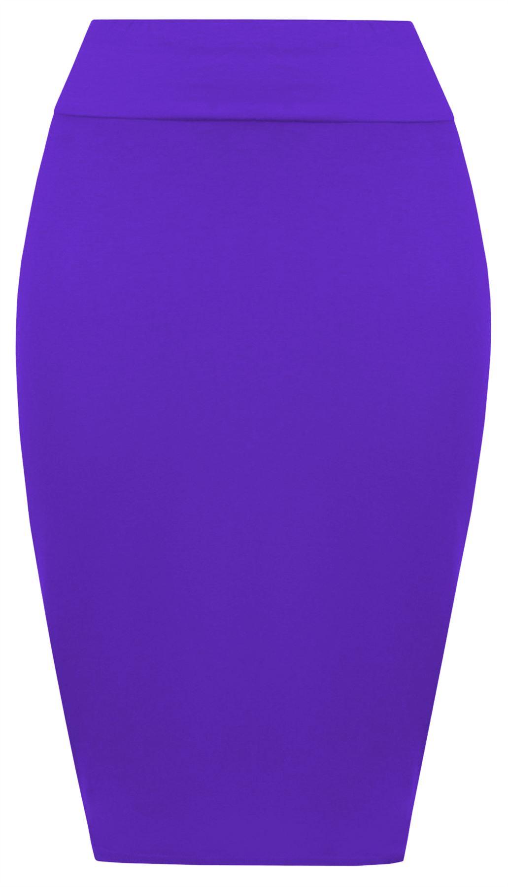 Neu Damen Einfarbig Hoher Bund Stretch Bodycon Trikot Sommer Midi-Bleistiftrock