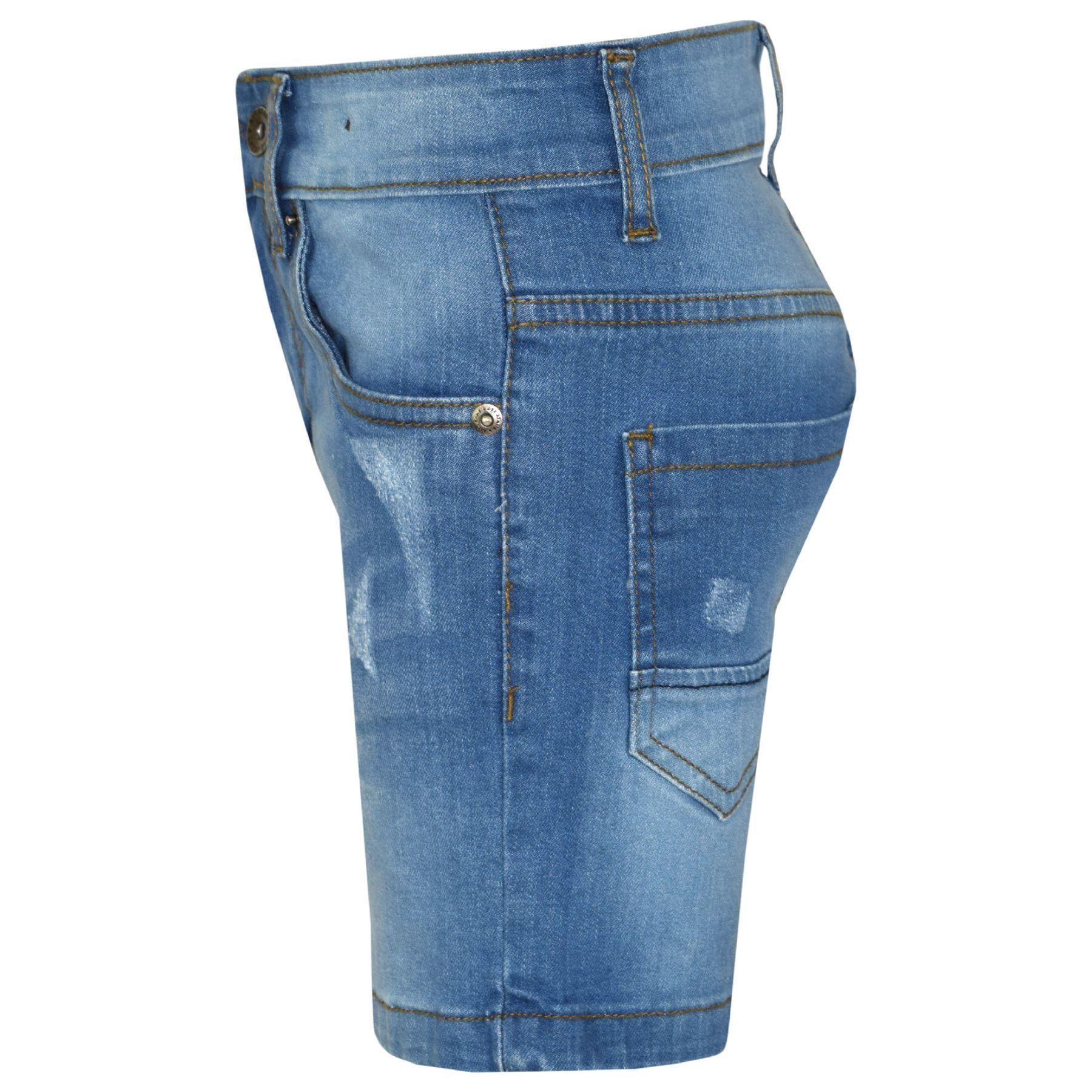 Kids Boys Denim Shorts Ripped Chino Bermuda Jeans Short Knee Length Pant 5-13 Yr