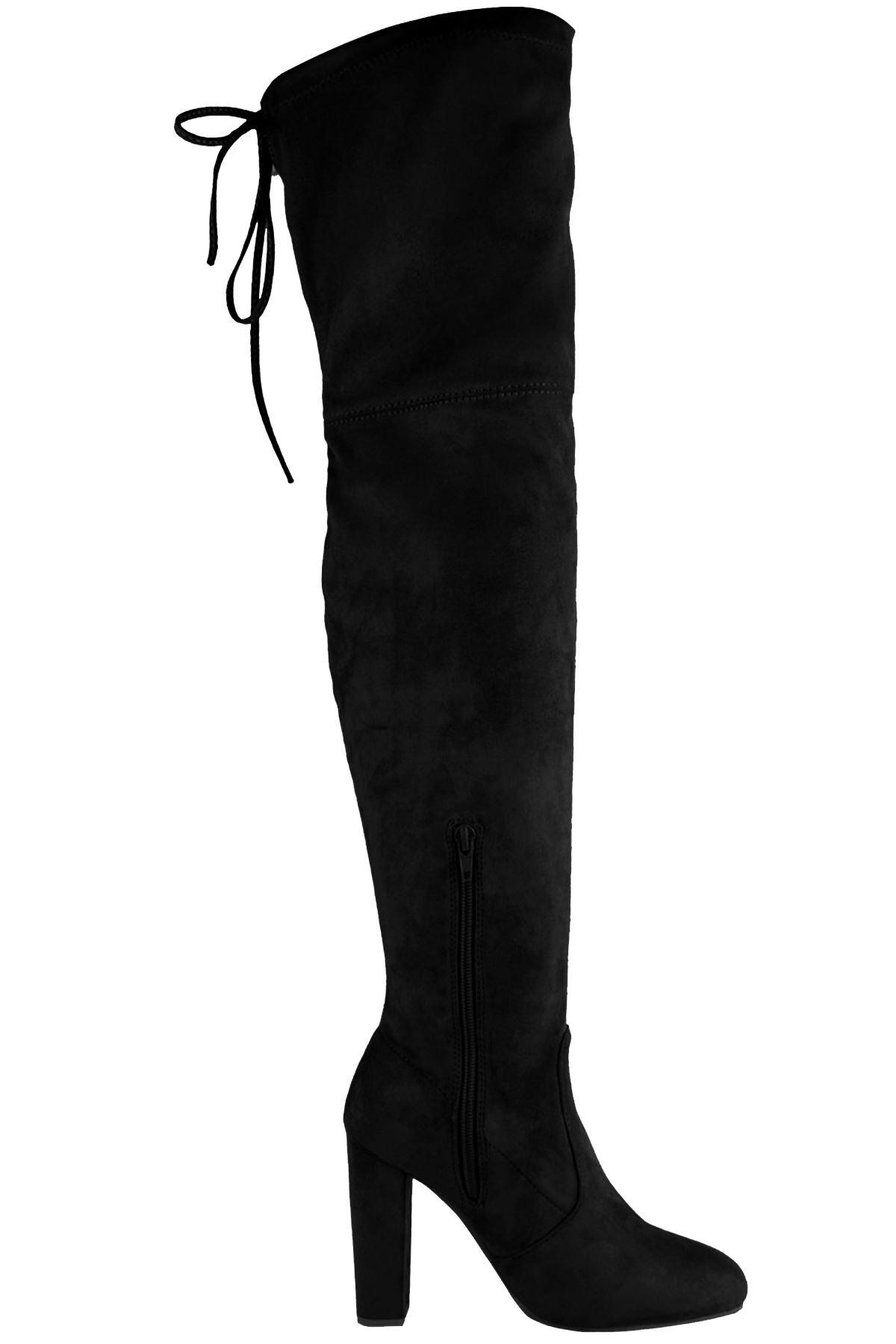femmes au dessus du Genou Bas laçage cuir suédé chaussure talon bloc bottes