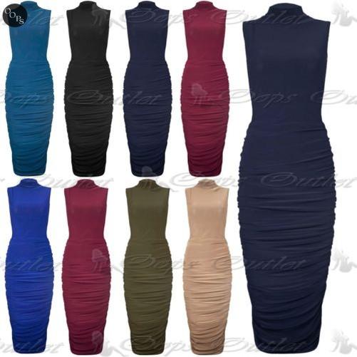Damen Rollkragen Hoher Kragen Midi Kleid Damen Seitlich  Gerüschte