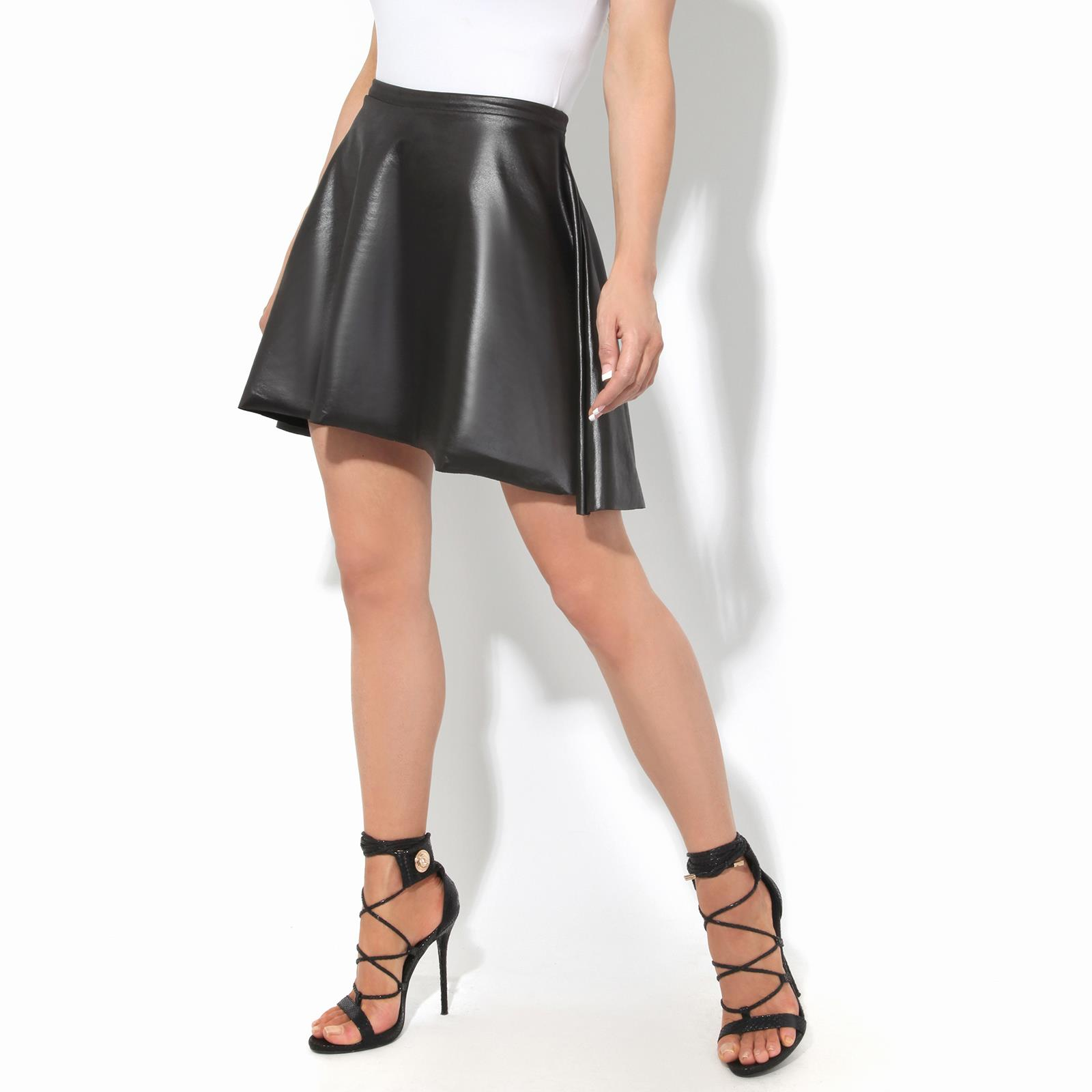 Damen Hohe Taille Minirock PVC Leder A Line Swing Ausgestellt Voll Plissee Party