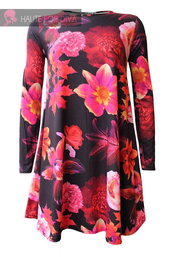 NEU DAMEN 's schön Blumenmuster Paisleymuster langärmlig Swing Kleid größe EU