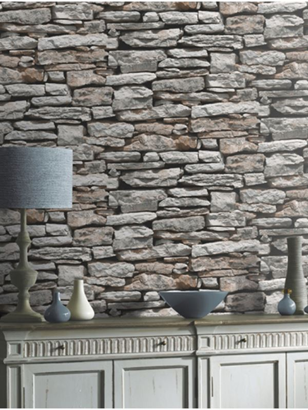 Brique Ardoise Effet Pierre Papier Peint-rustique rouge blanc gris noir métallisé