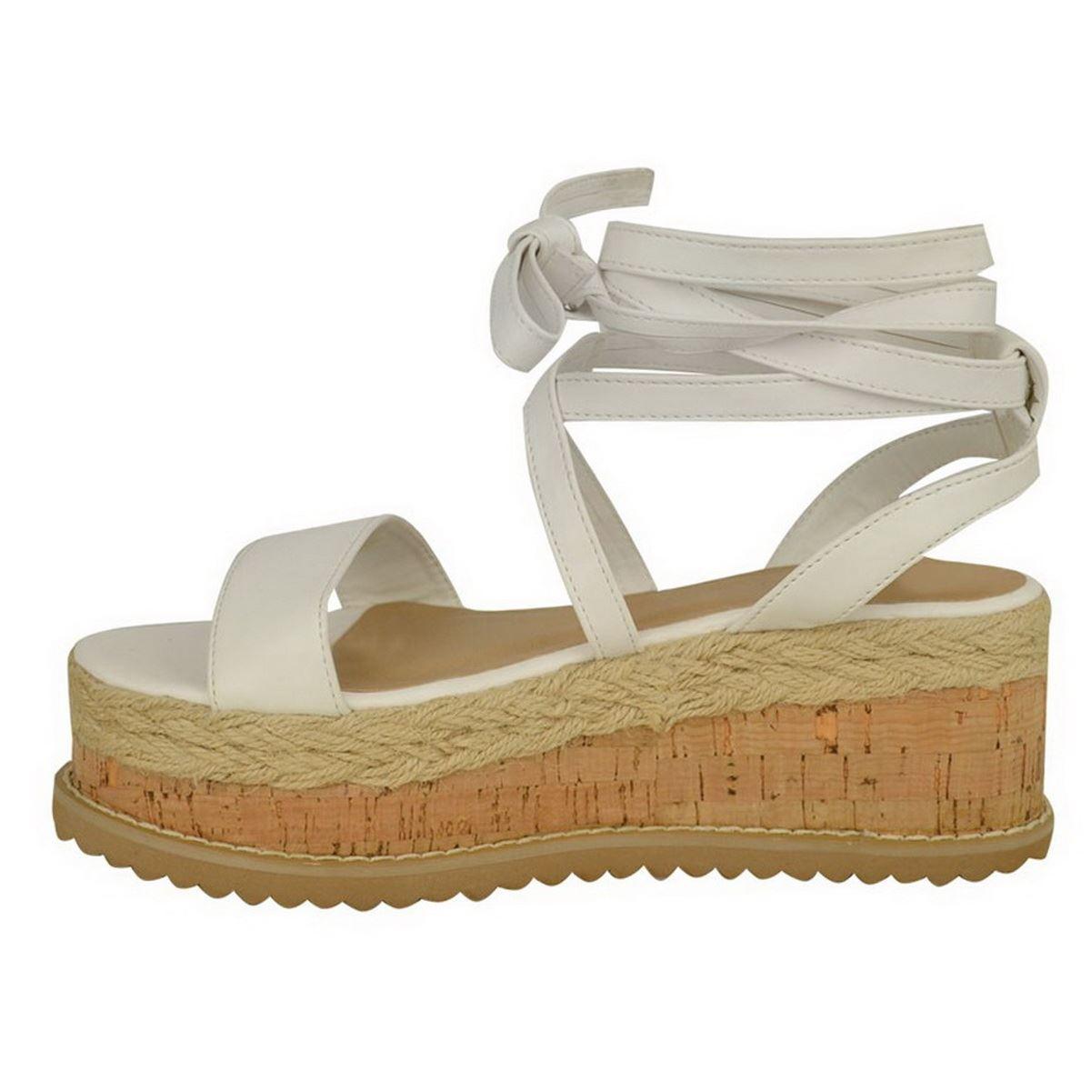 Damen Flach Keilabsatz Plateau Espadrille Sandalen Spitze Gebunden Sommer Schuhe