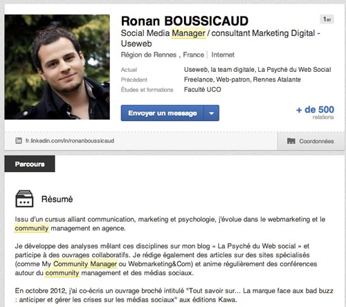 exemple cv biographie