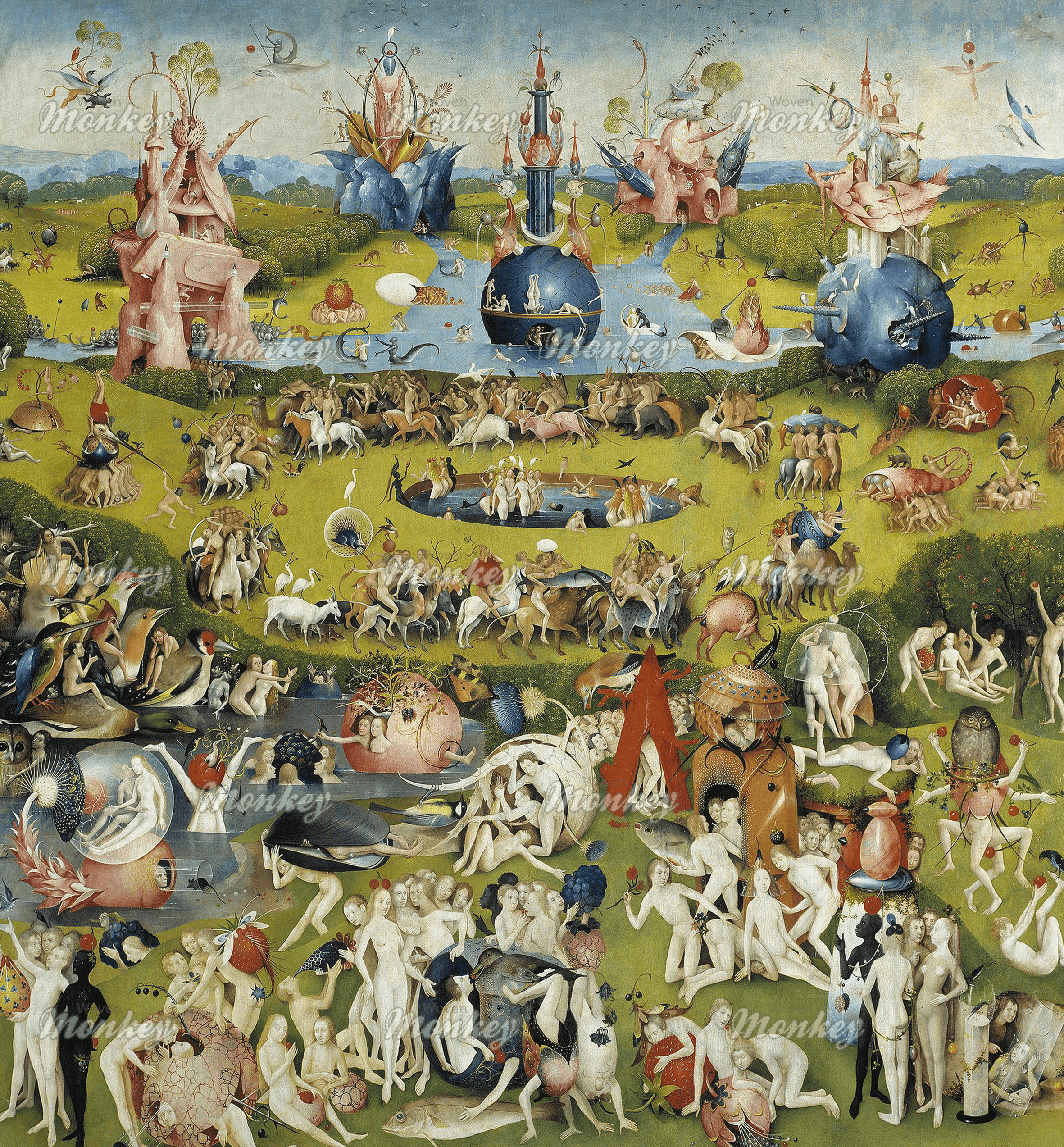 Hieronymus Bosch Garden Of Earthly Delights Center Panel 1510 Fabric Woven Monkey