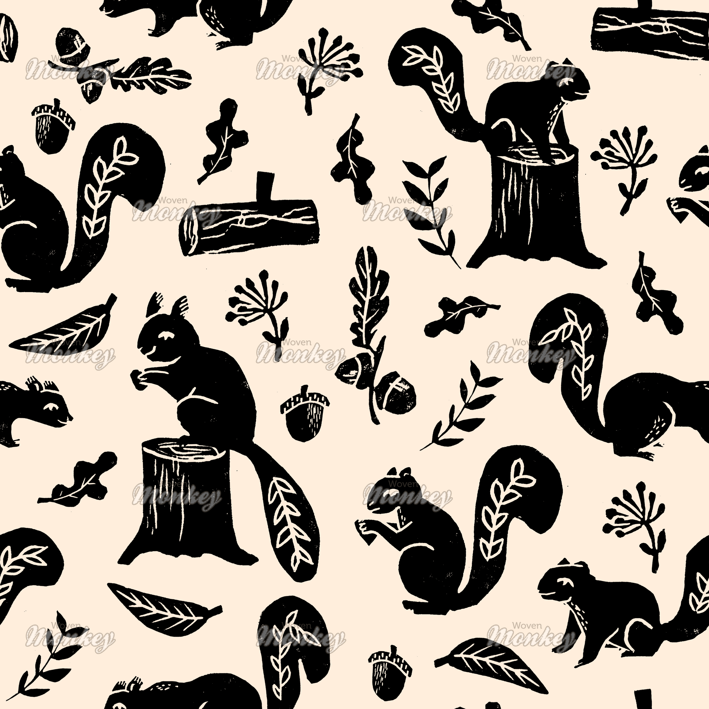 squirrels black on cream fabric woven monkey