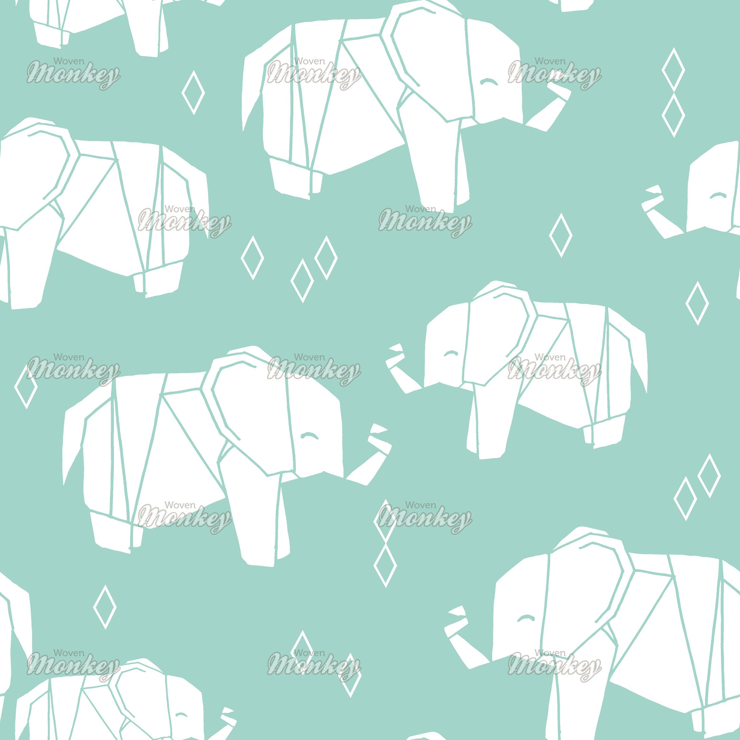 Origami elephant mint background with diamonds by andrea lauren origami elephant mint background with diamonds by andrea lauren fabric woven monkey jeuxipadfo Choice Image