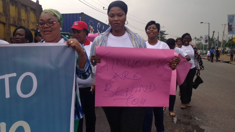 Lagos women protesting in Lagos on Monday against Dino Melaye's sexual abuse
