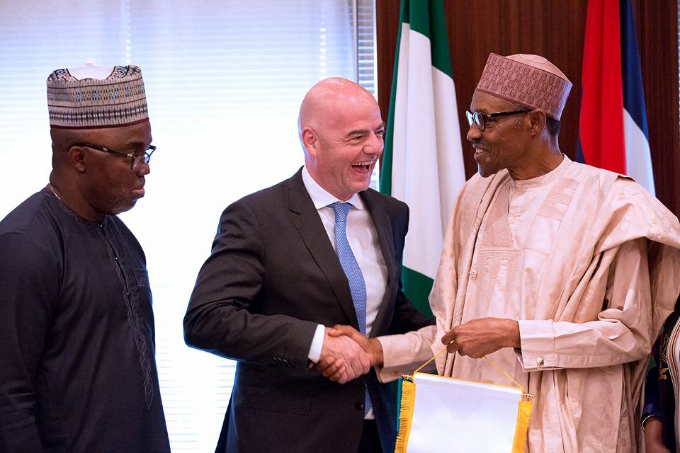 President of Nigeria Football Federation Mr Amaju Pinnick, FIFA President Mr Gianni Infantino, Secretary General of FIFA Ms. Fatima Samoura and Minister of Sports and Youth development Solomon Dalung at the Statehouse on 25th July 2016