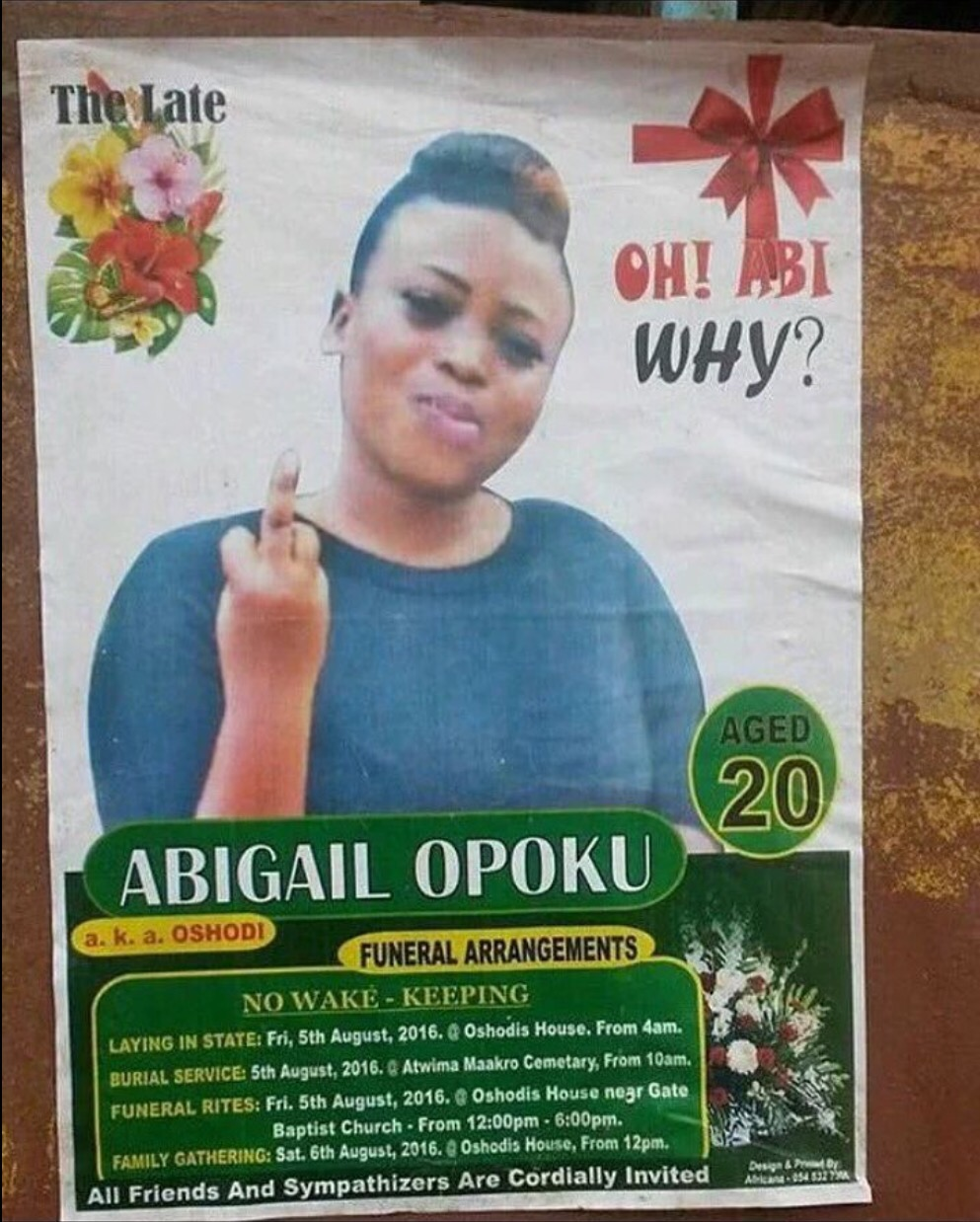 obituary middle finger