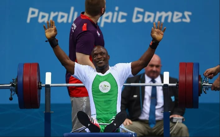 Nigeria's power lifter, Yakubu Adesokan won gold and set World record crashing with his amazing 180 kg lift in the men's 48 category in 2012 Paralympics in London.