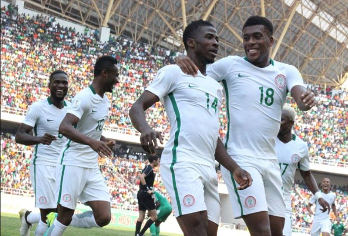 Super Eagles celebrate after Kelechi Iheanacho's goal against Zambia