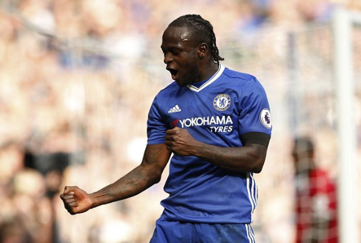 Victor Moses after scoring for Chelsea in a recent match