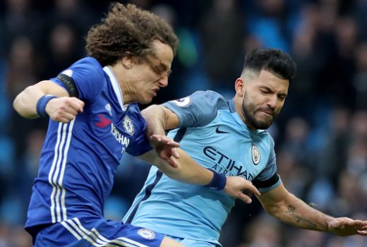 Manchester City's Sergio Aguero (right) has received a four-match ban following his dismissal for a reckless tackle on Chelsea's David Luiz (left)