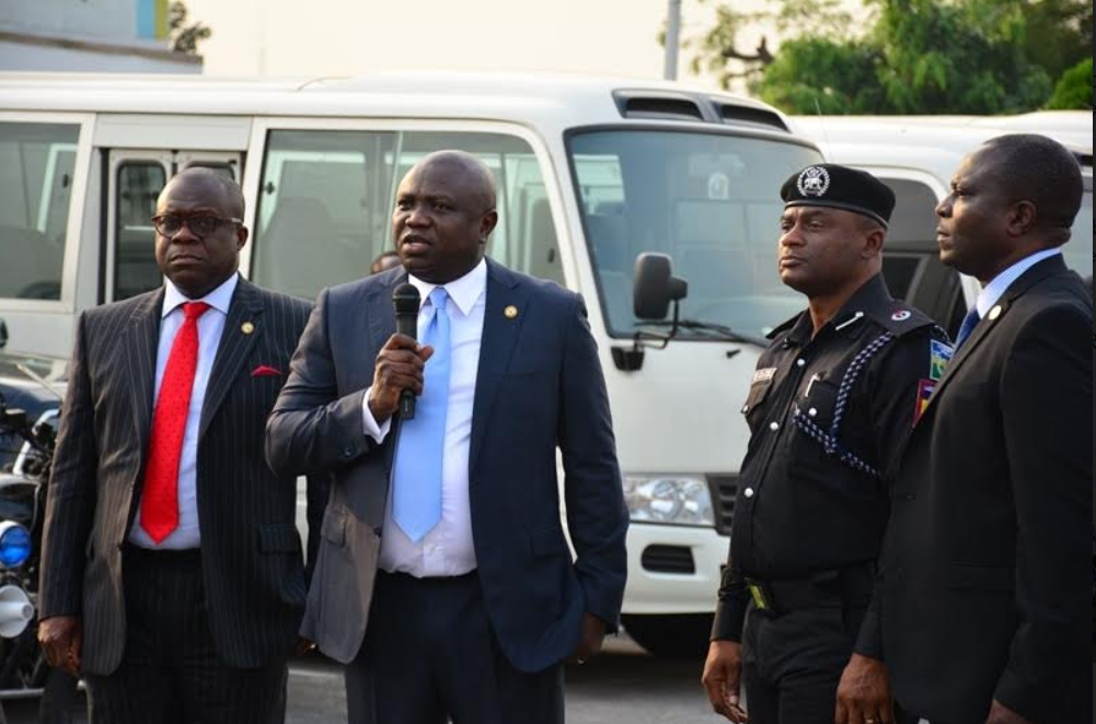 Gov Ambode at the hand over of new equipment to Lagos police