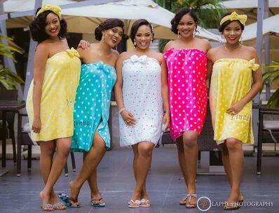 Bridemaids wearing towels