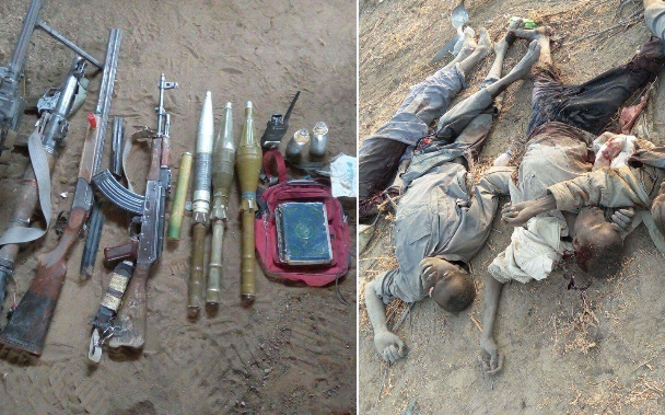 Image result for Troops discover bodies of terrorists, ammunition in Borno