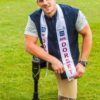 FILE PICTURE - Jack Eyers when crowned Mr Dorset at the Poole Football Club in Dorset. A male model has become the first amputee to be crowned Mr England - and hopes to go on to be Mr World. See SWNS story SWMODEL. Jack Eyers, 28, won over the judges at the final of the pageant and made history. He accepted the crown at an awards do after he triumphed over 24 other finalists. Two years ago the handsome personal trained became the first disabled person to take to the catwalk at New York Fashion Week. Jack had his leg amputated aged 16 as he was born with degenerative condition Proximal Femoral Focal Deficiency (PFFD) which causes a deformed hip and a shortened leg.