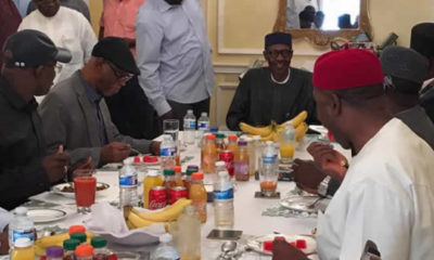 Buhari having dinner with APC leaders
