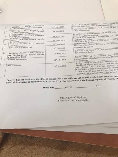 Election Time table for Ekiti, Osun Governorship election