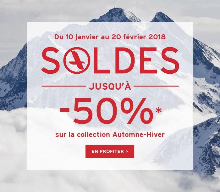 Du 10 janvier au 20 février 2018SOLDES -50%* sur la collection Automne-Hiver