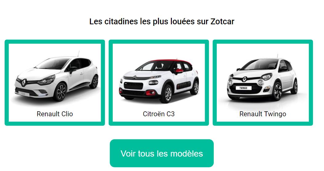 Les citadines les plus louées sur Zotcar : Clio Twingo Citroën C3
