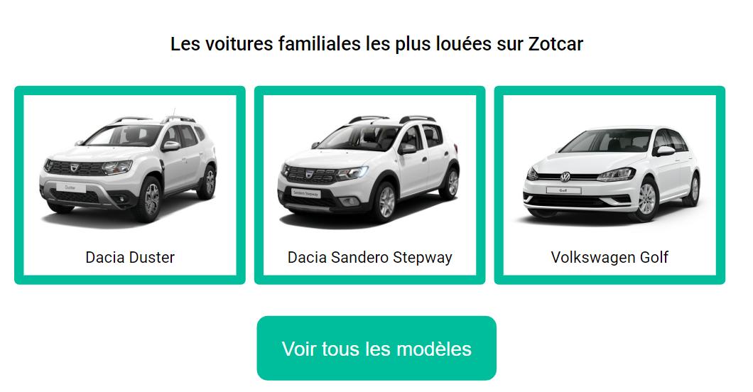 Les familiales les plus louées sur Zotcar : Dacia Duster, Sandero, Stepway Golf