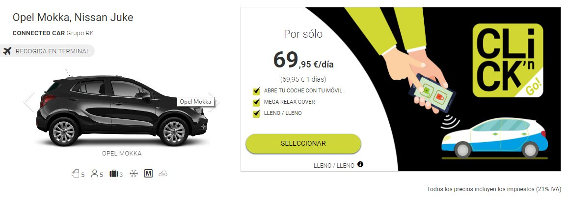 sistema de alquiler de coches Click´n Go