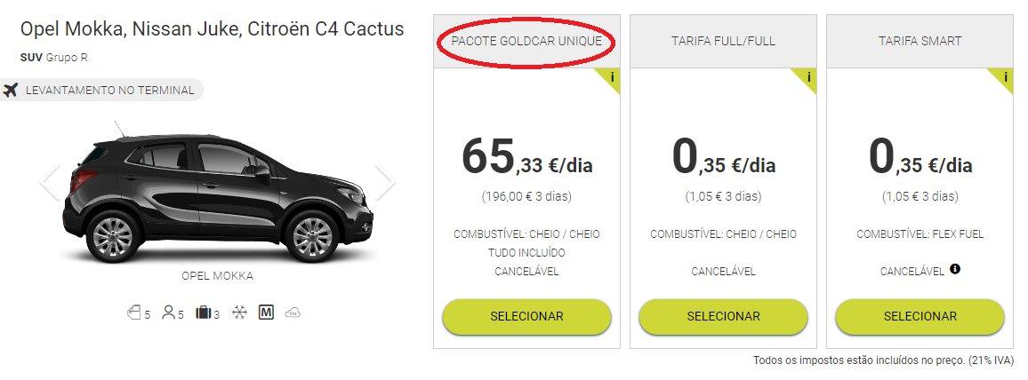 aluguer carros pacote goldcar unique