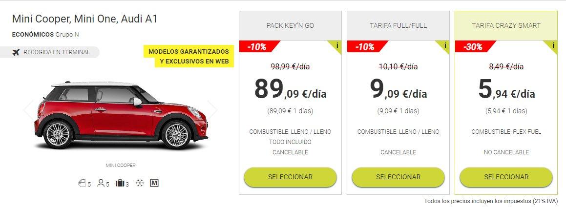 alquiler de coches smartphone