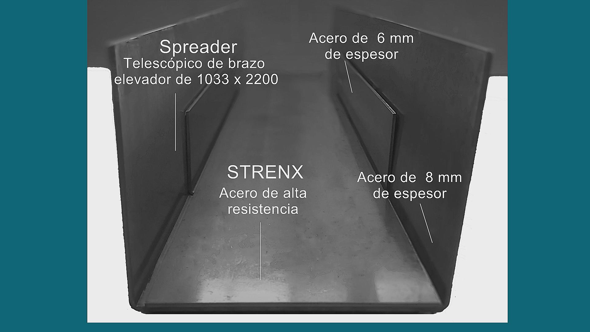 SPREADER CONTAINERA TELESCOPICO DE BRAZO ELEVADOR CON UNA PIEZA EN ACERO ESTRUCTURAL DE ALTA RESISTENCIA STRENX