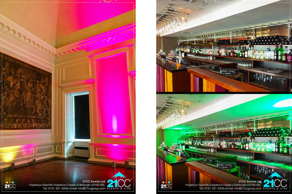 indoor event lighting edinburgh by 21CC Events Ltd
