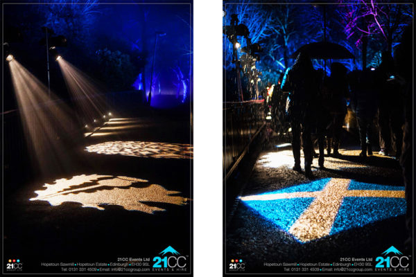 Saltire lighting by 21CC Events Ltd