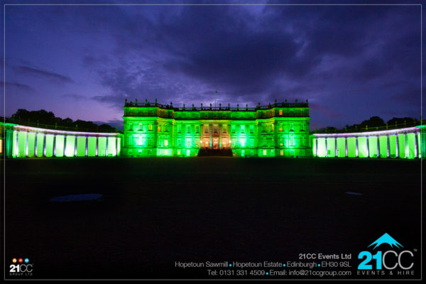 Hopetoun house lit up by 21CC Events Ltd