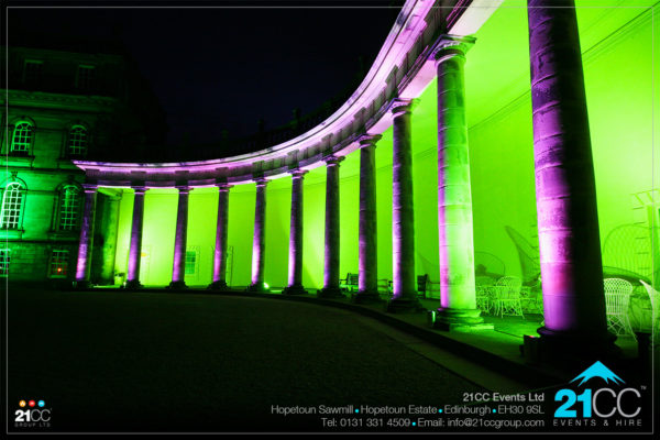 outdoor lighting of hopetoun house by 21CC events Ltd