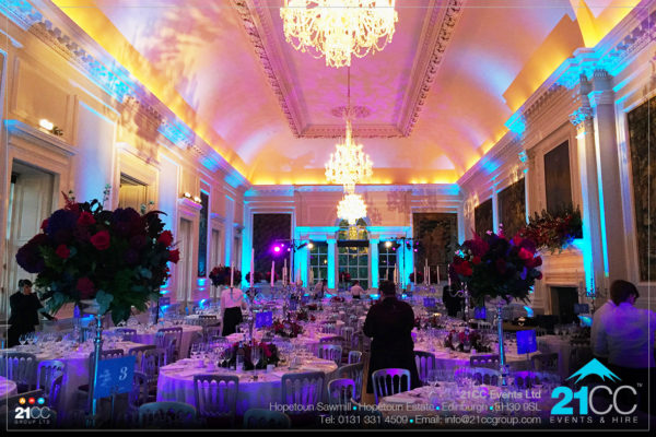indoor event lighting by 21CC Events Ltd