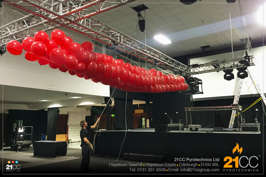 balloon drop company edinburgh by 21CC Pyrotechnics