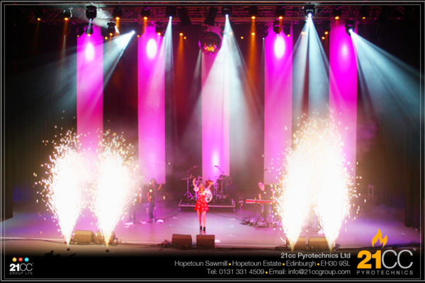 stage gerb effect edinburgh by 21cc pyrotechnics