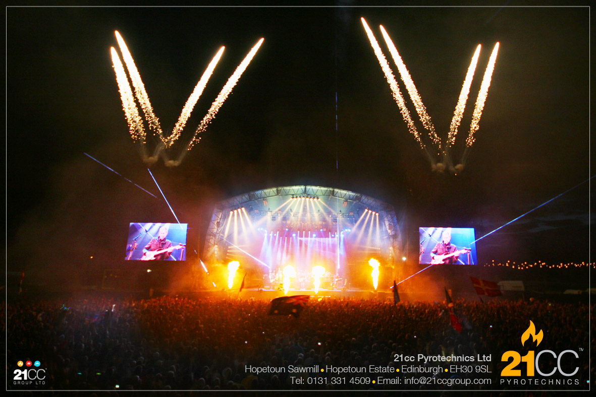 stage flames edinburgh by 21CC pyrotechnics