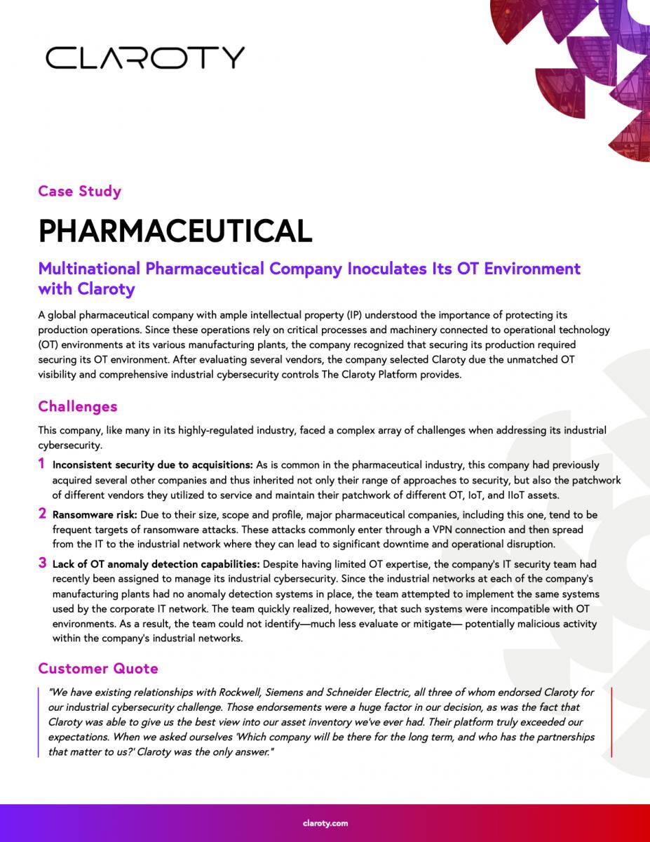 Claroty Pharmaceutical Case Study