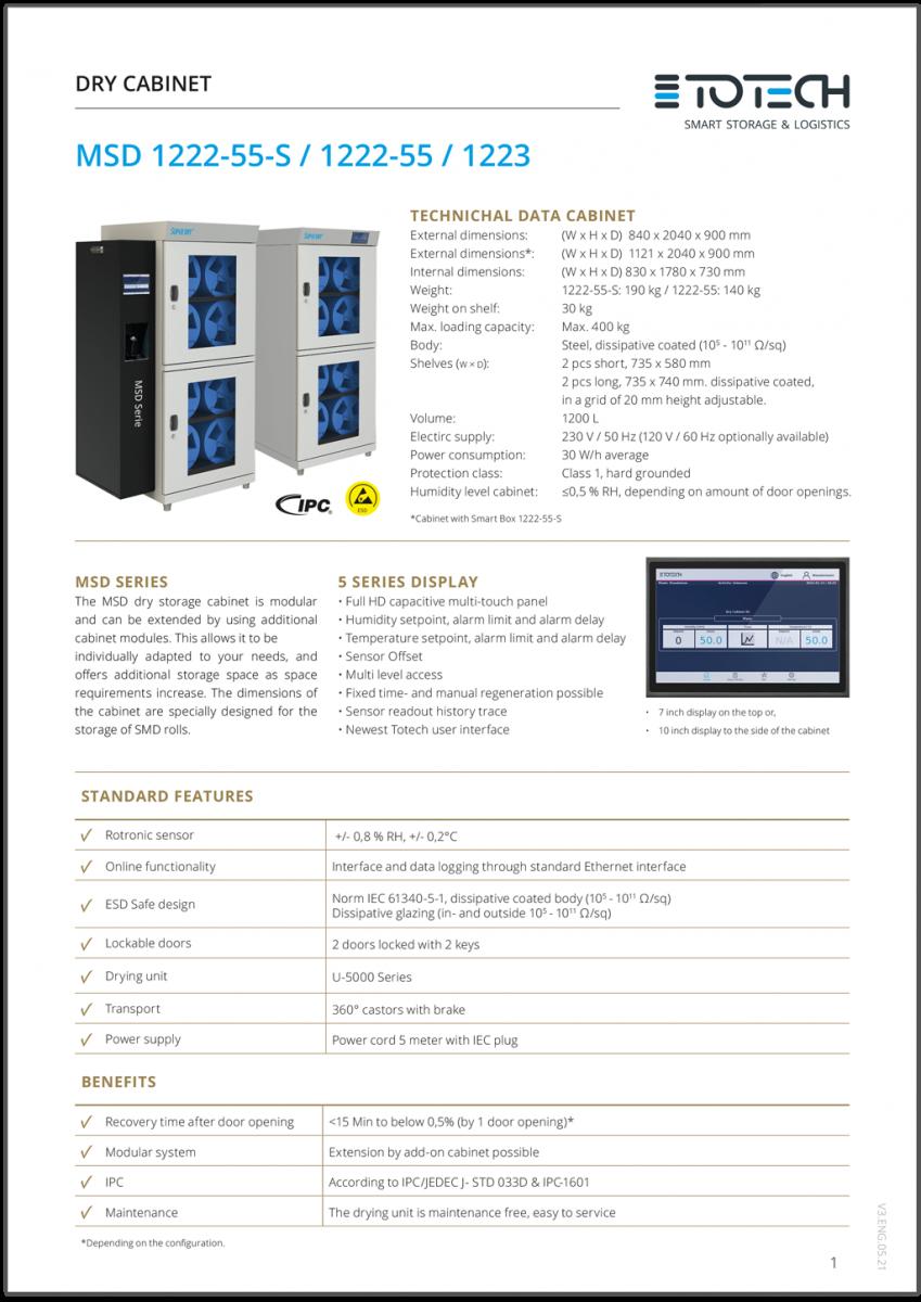 MSD Series drying cabinets datasheet