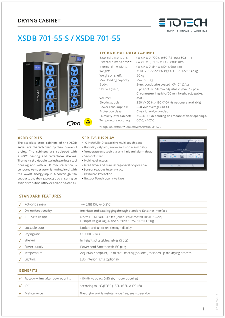 XSD Series drying cabinets datasheet