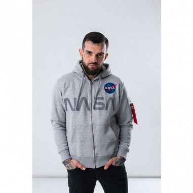 NASA ZIP HOODY 17 GREY HEATHER