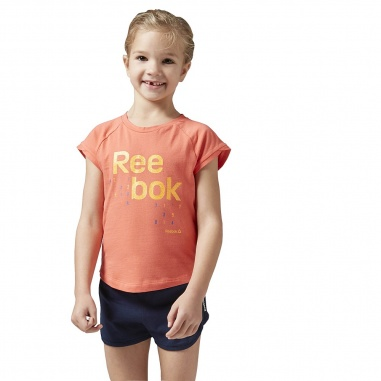 Kompley Reebok Girls Essentials Short Sleeve Logo Set Fire Coral