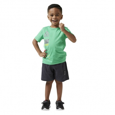 Reebok Boys Essentials Short Sleeve Logo Set Green