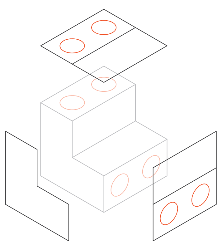 Schematic of a part that requires multiple setups